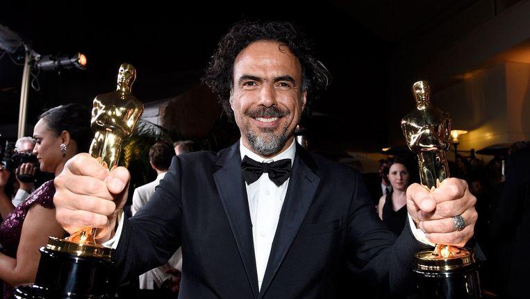 Regisseur Alejandro Gonzalez Inarritu won met Birdman naast de felbegeerde Oscars voor beste film en beste regie ook de prijzen voor beste orginele screenplay en beste cinematografie. Beeld afp