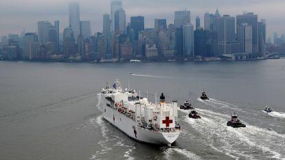 Ziekenhuisschip met 1.000 extra bedden meert aan in New York