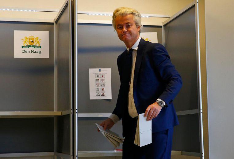 Wilders stemt in Den Haag. Beeld ap