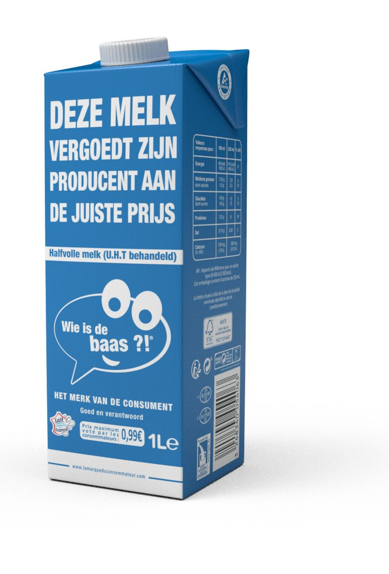 Een briek melk van 'Wie is de baas? Het merk van de consument'.