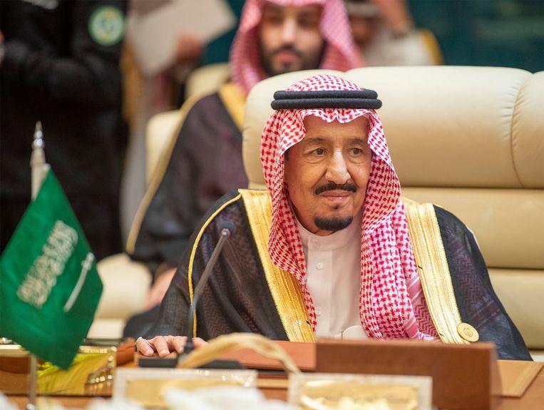 De Saudische koning Salman tijdens een door hem bijeen geroepen spoedvergadering van de Samenwerkingsraad van de Arabische Golfstaten in Mekka.