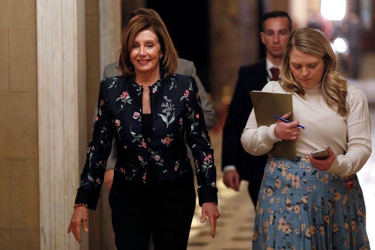 Voorzitter van het Huis van Afgevaardigden, Nancy Pelosi, na afloop van de stemming over de resolutie (09/01/2020).