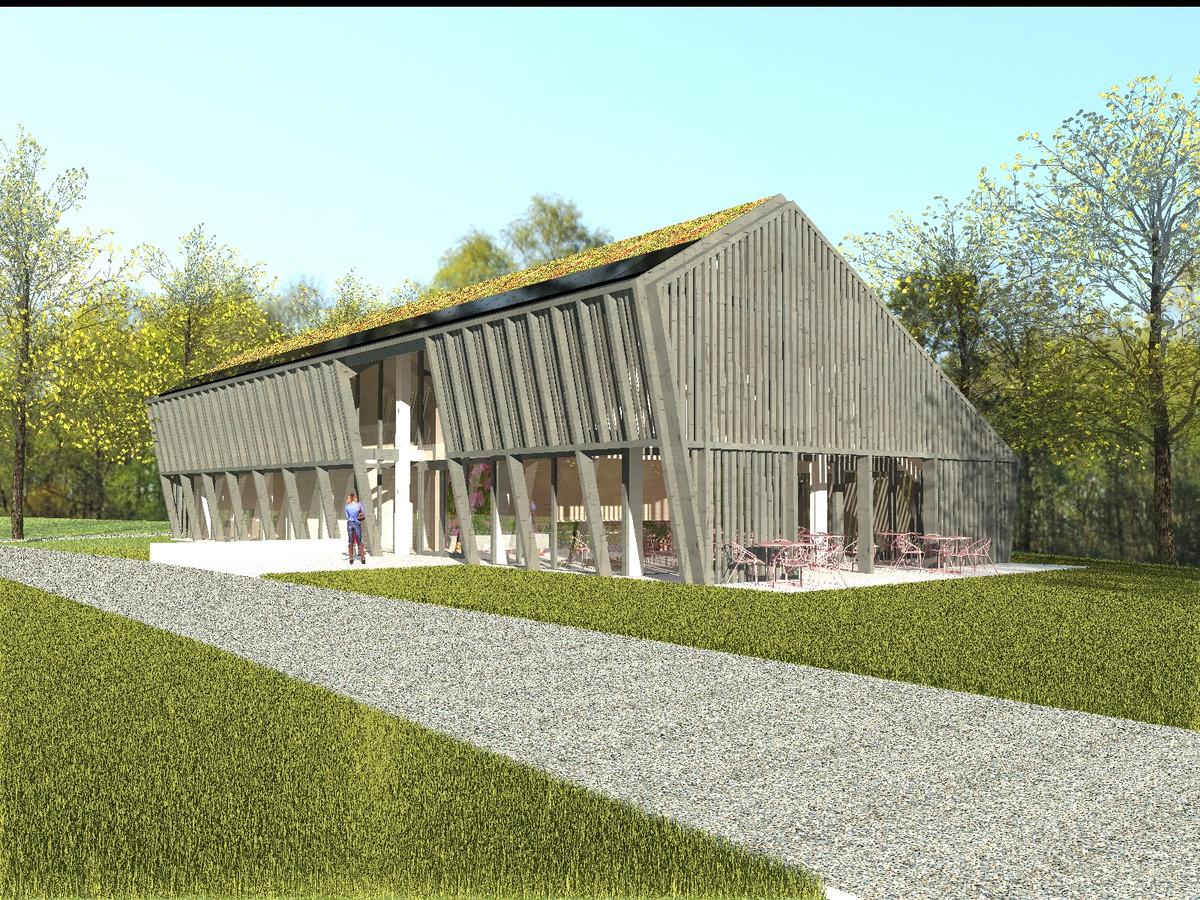 Zo gaat het nieuwe bezoekerscentrum van de A. Vogel Tuinen tussen Elburg en 't Harde eruit zien.