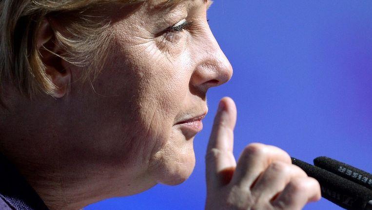 Angela Merkel op verkiezingscampagne in Rust, Duitsland. Beeld EPA