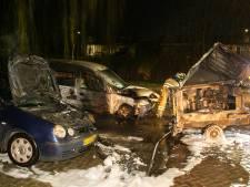 Twee auto's, aanhanger en afvalcontainer verwoest door branden in Dordrecht