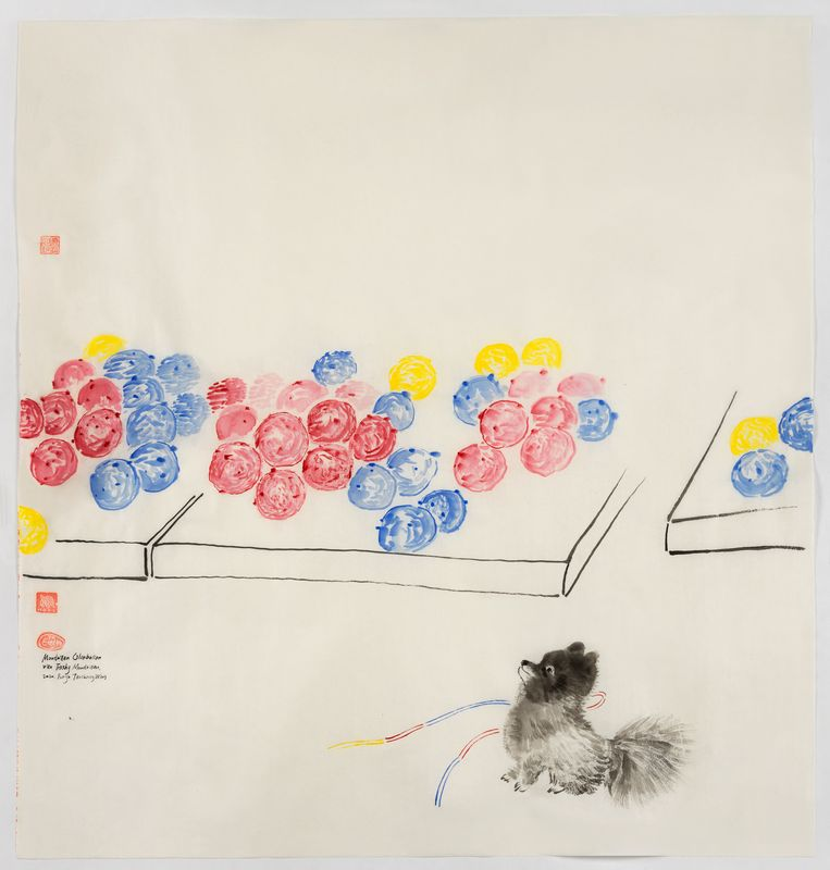 OllieBolly! OllieBolly! (Mondriaan Oliebollen of Trashy Mondriaan), 2020, acryl, inkt en aquarel op rijstpapier, 98 × 89 cm. Beeld Evelyn Taocheng