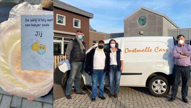 Buschauffeurs Oostmalle Cars trakteren zorgpersoneel WZC ter Bleeke op huisbereide rijstepap