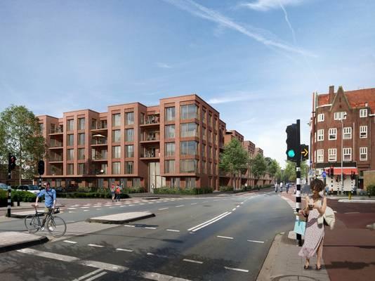 Een impressie van de bouwplannen van Burgland Real Estate op het Vogelzangterrein in Eindhoven met op de voorgrond de Willemstraat. Dit is het eerste bouwproject uit het Bouwoffensief van de gemeente Eindhoven dat in aanbouw is.