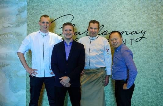 Sous-chef Mark Wijntjes, manager Mark Vermeer, chef Björn Zwaan en eigenaar Michael Hu.