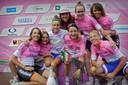 Marianne Vos en haar teamgenoten na het winnen van de Giro Rosa in 2014.