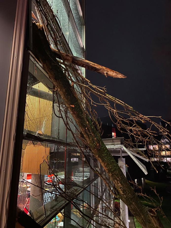 De boom raakte de ruiten op de eerste en tweede verdieping.