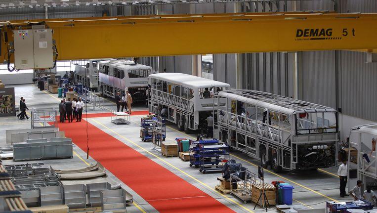 Een busfabriek van Scania in India.