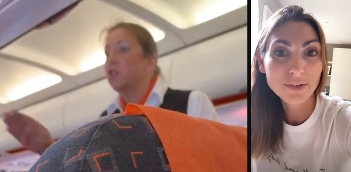 Links: de stewardess. Rechts: Luisa Zissman.