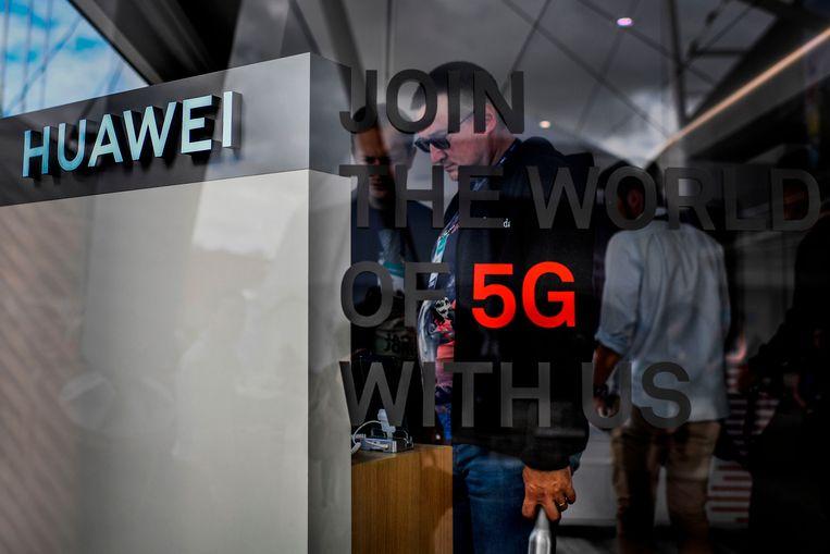 Een conges van Huawei in Lissabon.  Beeld AFP