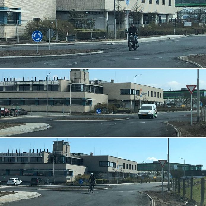 Veel brommerrijders, automobilisten en fietsers snijden de nieuwe rotonde op de Korringaweg in Yerseke af.