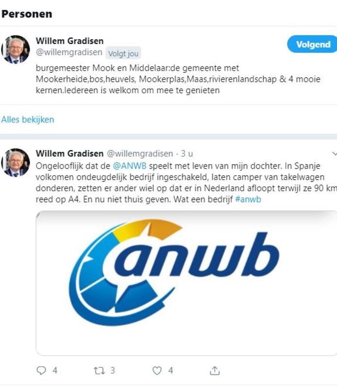 Burgemeester Willem Gradisen klaagt ANWB aan op Twitter.