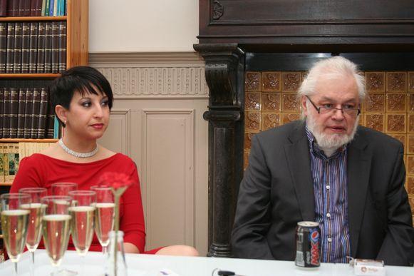 Jean-Pierre Van Rossem en Nora Azdad bij de voorstelling van de partij ROSSEM