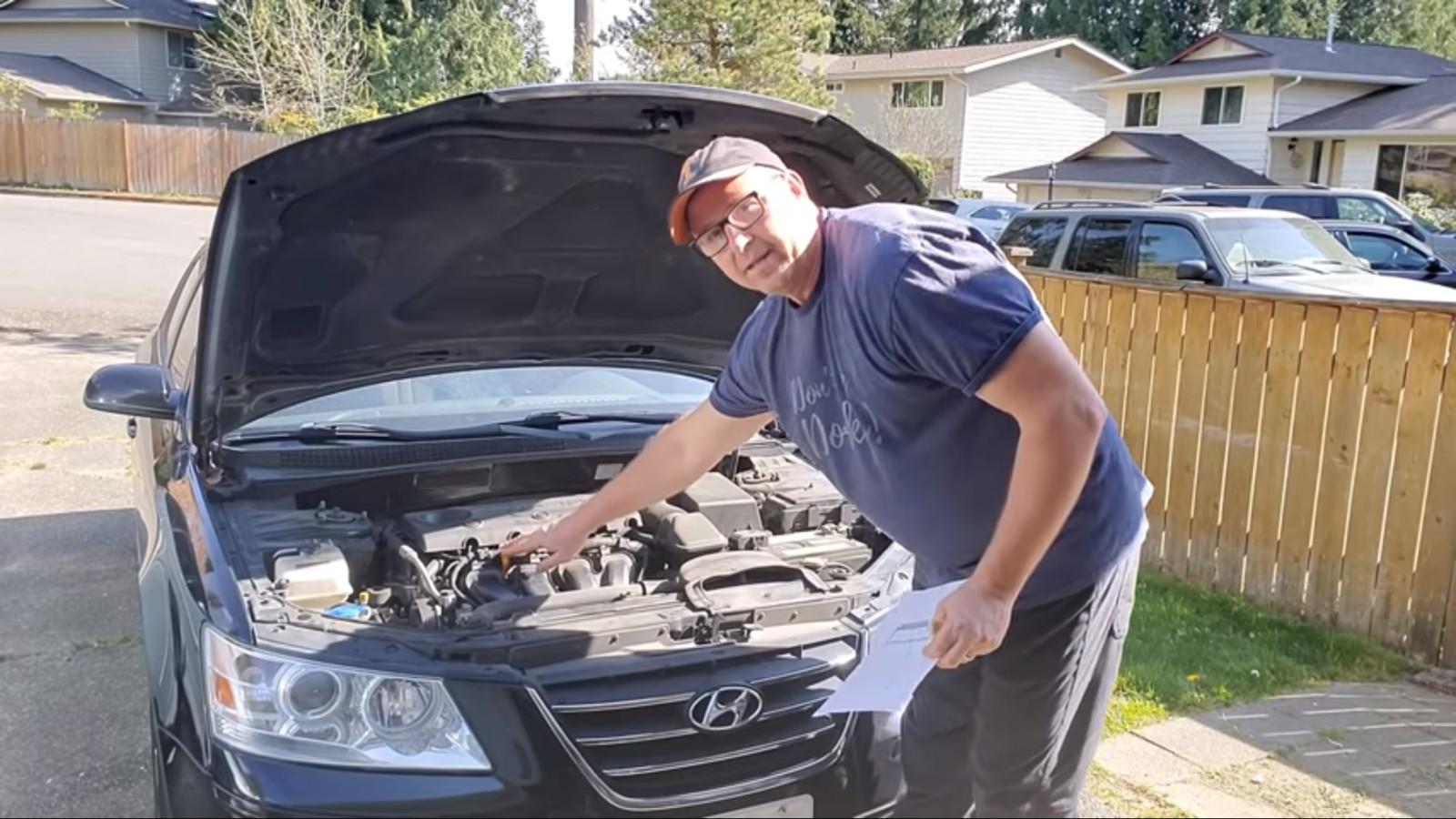 Screenshot: Dad, how do I? - How to check your car's oil.