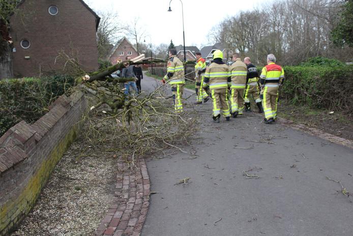 De brandweer is zondagmiddag rond 17.00 uur uitgerukt voor stormschade op het Kerkpad in Horssen.