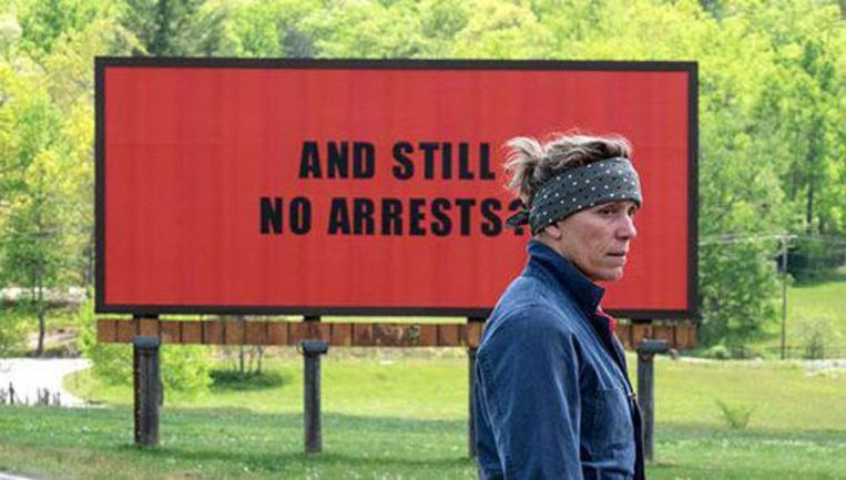 Frances McDormand in de film Three Billboards Outside Ebbing Missouri. Beeld