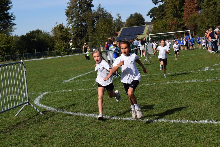 De vele leerlingen gaven het beste van zichzelf tijdens de scholenveldloop.