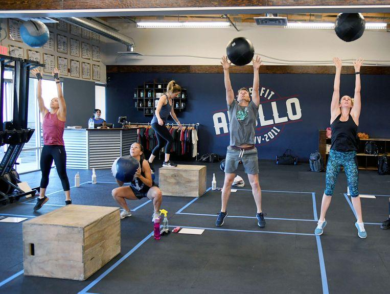 Een Crossfit-les in een heropende fitnesszaak in Las Vegas (foto: 29 mei 2020).