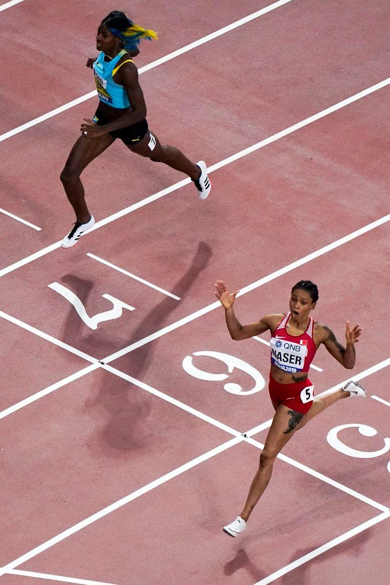 Salwa Eid Naser wint de 400 meter, voor Shaunae Miller-Uibo.  Beeld AP