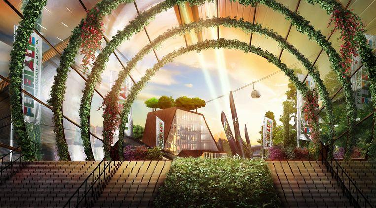 Artist's impression van hoe de entree van de Floriade 2022 eruit moet komen te zien. Beeld -