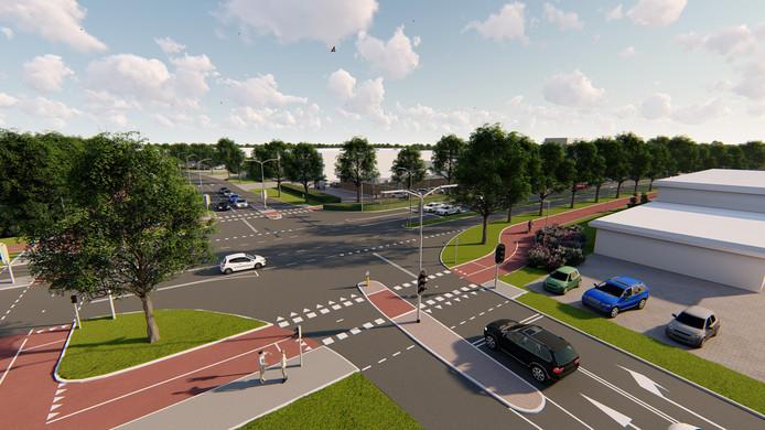 Impressie van de vernieuwde Hengelder na aanleg van nieuwe op- en afrit A12. Zevenaar Oost.
