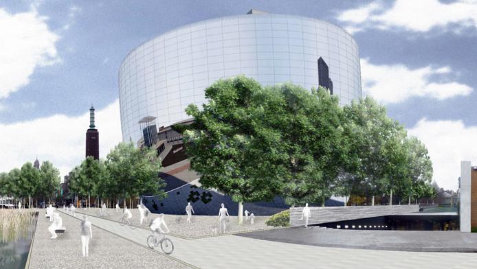 Impressie van het Collectiegebouw in het Museumpark.