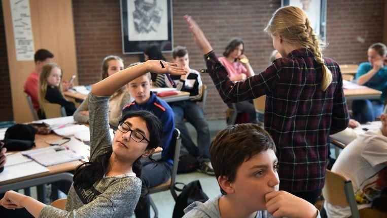Een klaslokaal van een middelbare school in Nijmegen. Beeld Marcel van den Bergh / de Volkskrant