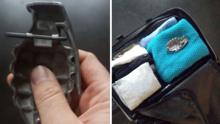 De 'granaat' in de koffer van een passagier bleek uiteindelijk gewoon een gesp te zijn.