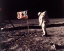 Buzz Aldrin, tweede mens op de maan, gefotografeerd door eerste mens op de maan Neil Armstrong.