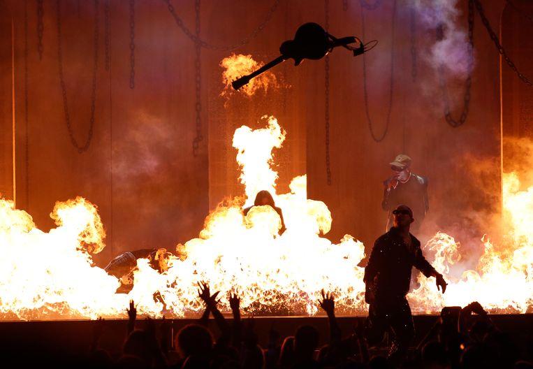 Post Malone, Ozzy Osbourne, Travis Scott en Watt stonden samen op het podium.