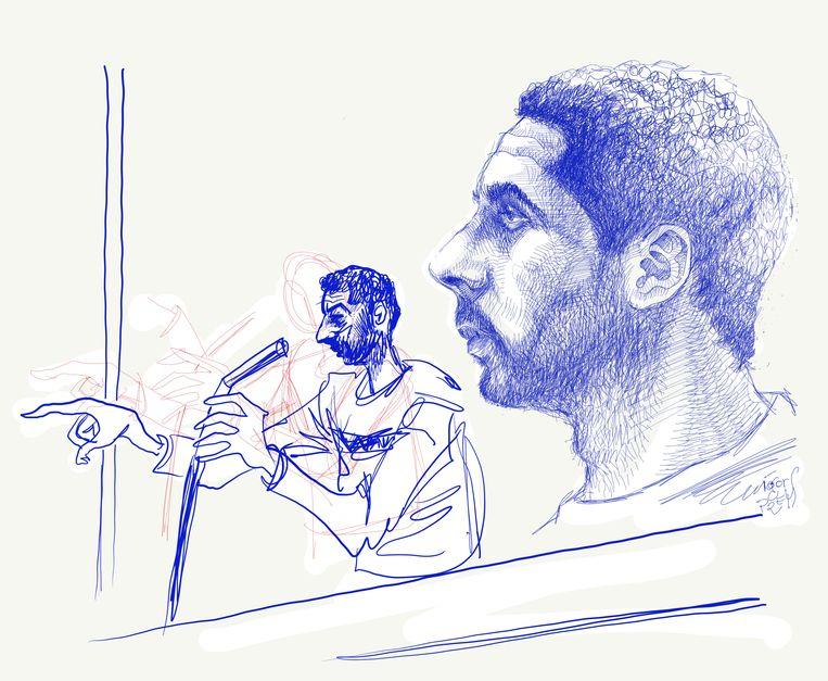 Rechtbankschets van hoofdbeschuldigde Mehdi Nemmouche tijdens het proces over de aanslag op het Joods Museum.