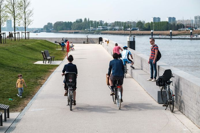 Het Droogdokkenpark. Een fraai stuk nieuwe Scheldekaaien in het noorden van de stad.
