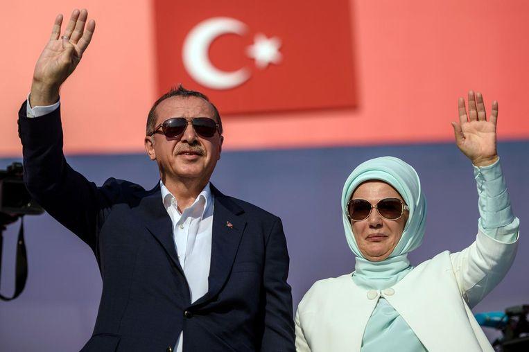 President Recep Tayyip Erdogan en zijn vrouw Emine Erdogan. Beeld anp