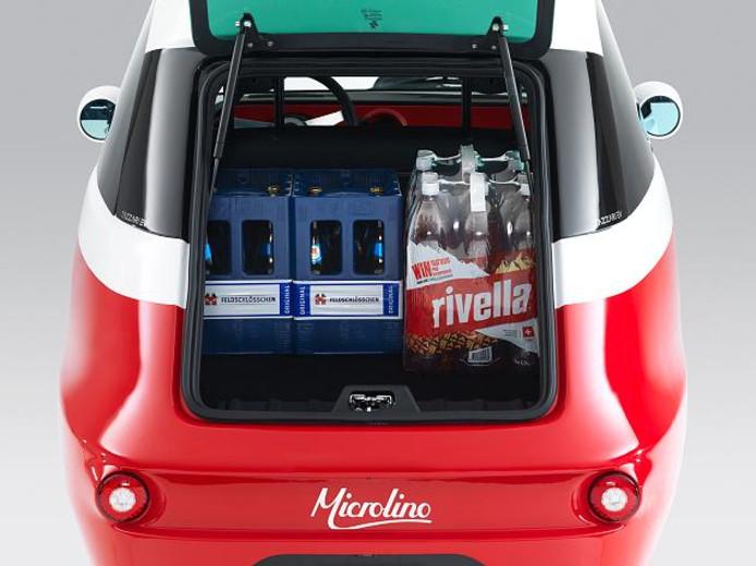 Drie boodschappenkratten en twee zitplaatsen - meer heb je niet nodig in een stadse omgeving, denkt Microlino.