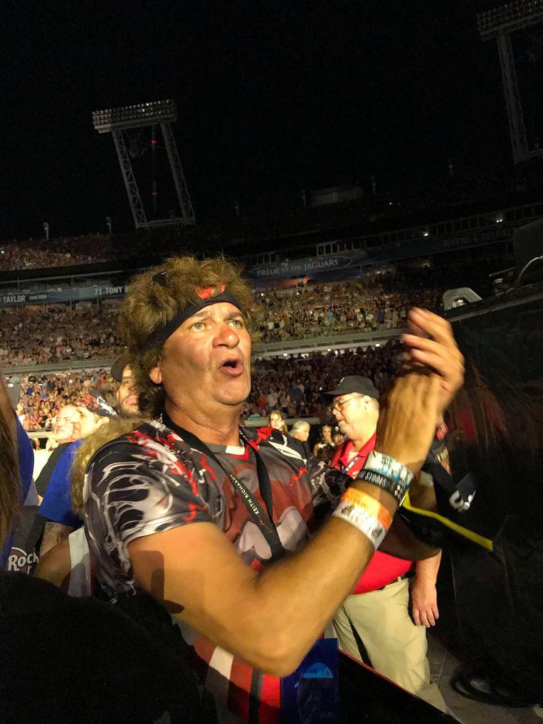 Luc Van der Hoeven in de VS op een concert van The Rolling Stones.
