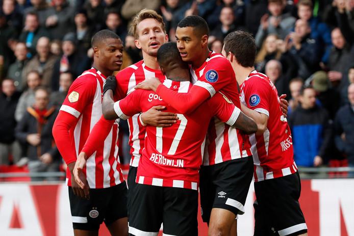 PSV viert een treffer tegen Fortuna Sittard.