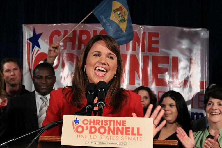 Christine O'Donnell spreekt haar aanhangers toe nadat ze de voorverkiezingen in Delaware heeft gewonnen. (AFP) Beeld
