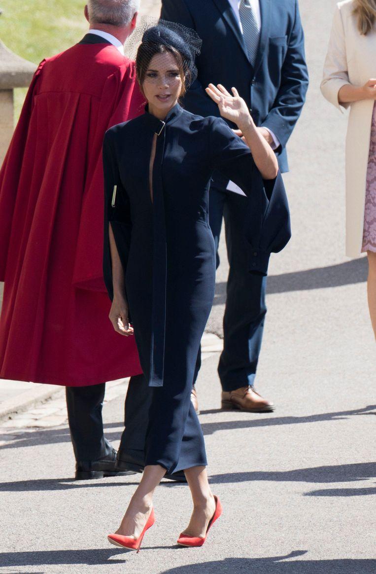 Victoria Beckham tijdens het koninklijke huwelijk op 19 mei.