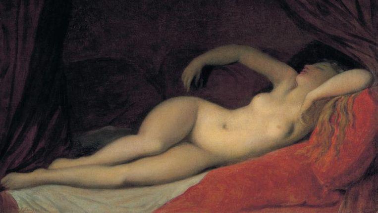 null Beeld ¿Een slapende odalisque¿ van Jean Auguste Dominique Ingres (1780-1867).