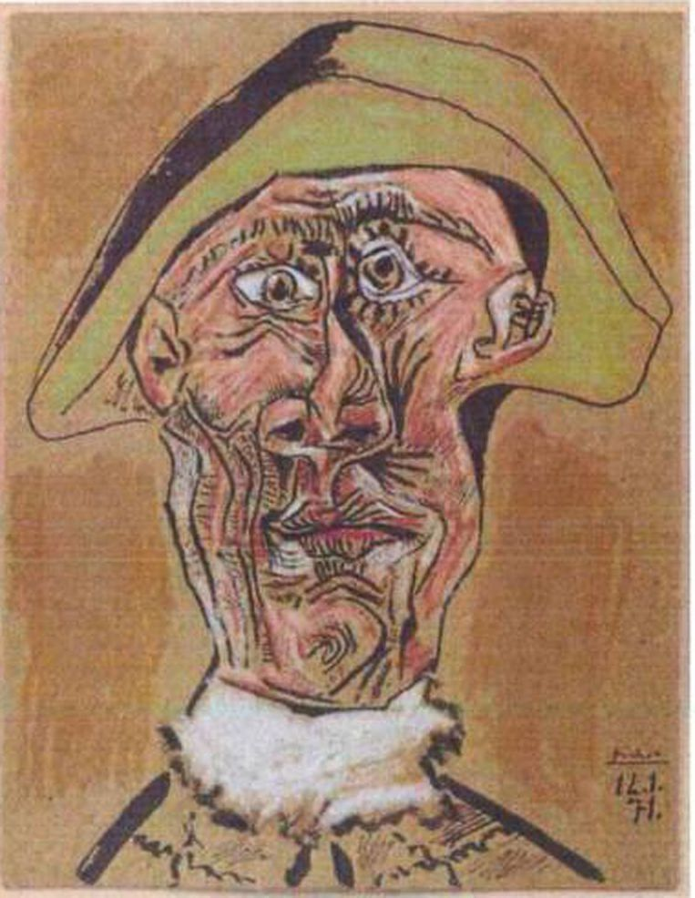 null Beeld Pablo Picasso: 'Tête d'Arlequin' (1971)