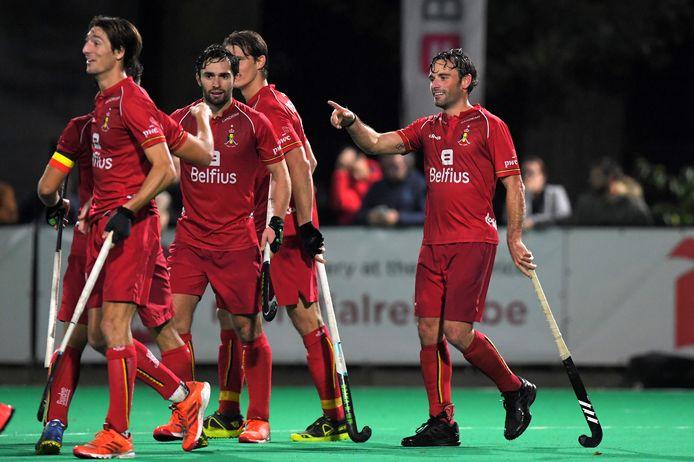 Les Red Lions lors d'un match contre l'Argentine le 23 octobre à Brasschaat.