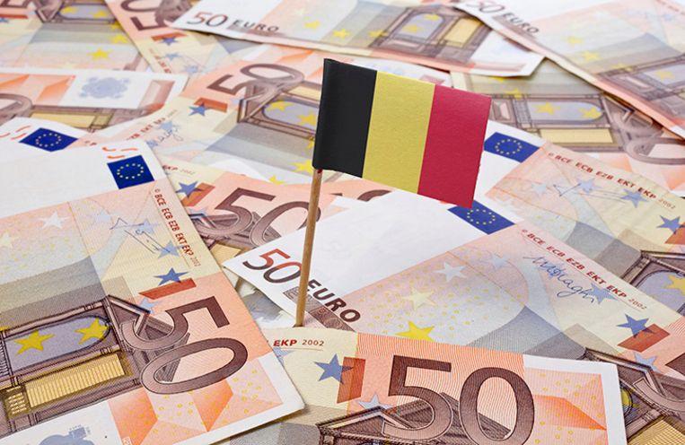 Flag of Belgium sticking in european bank notes.