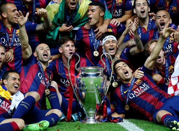 I giocatori dell'FC Barcelona hanno vinto la finale di Champions League contro la Juventus il 6 giugno 2015 a Berlino.