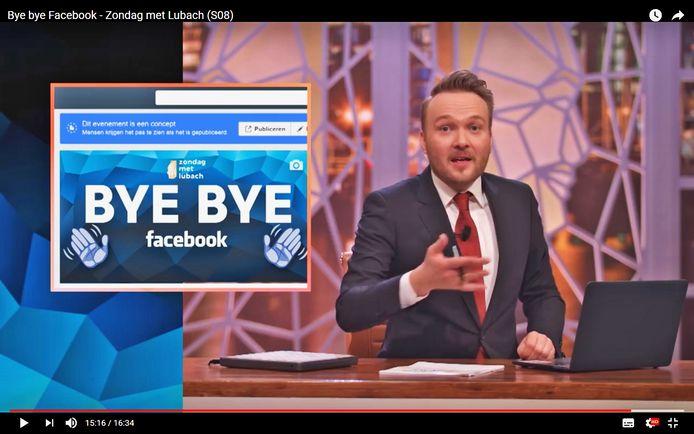 Arjen Lubach roept in zijn programma dat het tijd is om te stoppen met Facebook, want het bedrijf is volgens hem al lang niet meer te vertrouwen.