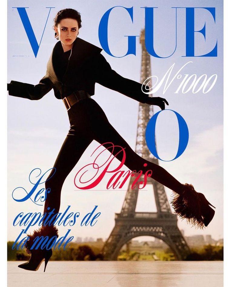 Rianne van Rompaey op de cover van Vogue Paris. Beeld Vogue