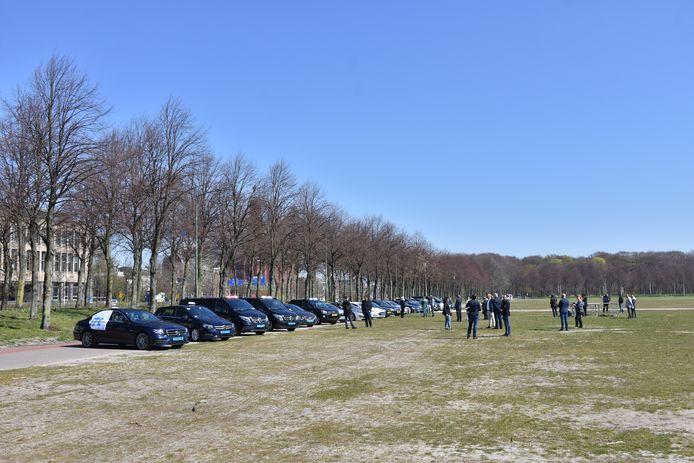 Demonstratie taxichauffeurs op het Malieveld.